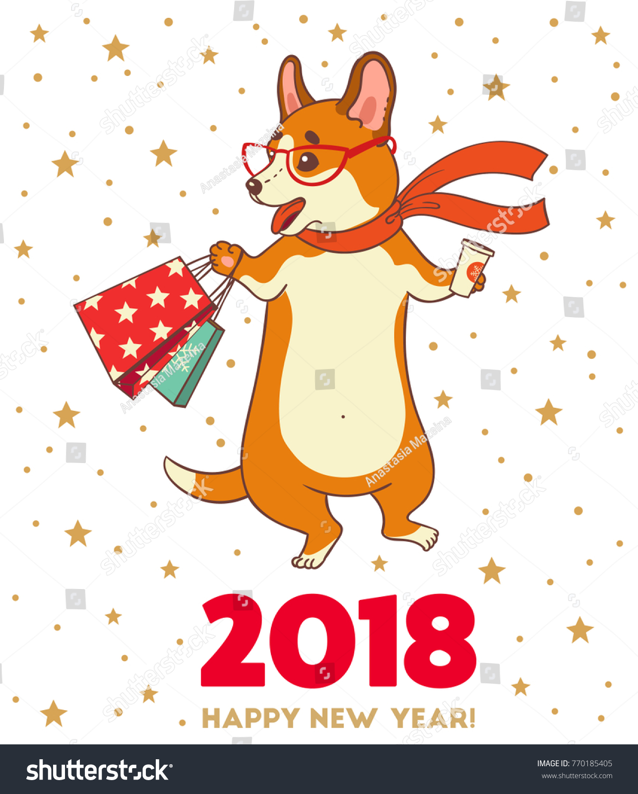 Christmas New Year Greeting Card Cartoon Stock Vector (Royalty Free ...