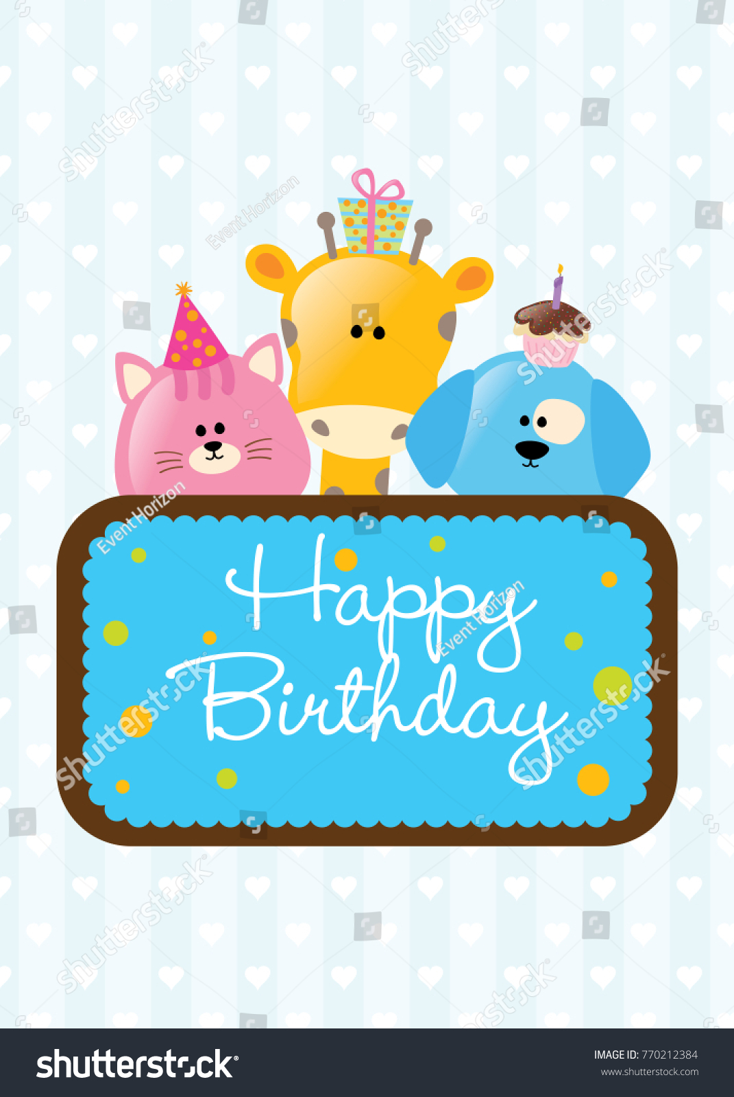 Happy Birthday Card Greeting Wishing Ecard Stock Vector Royalty
