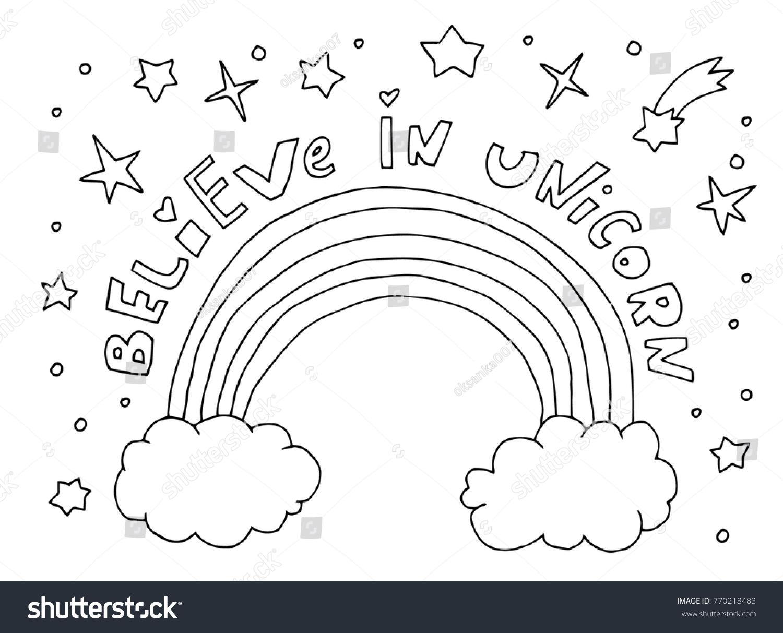 Believe Unicorn Text Quote Rainbow Cloud Stock Vector ...