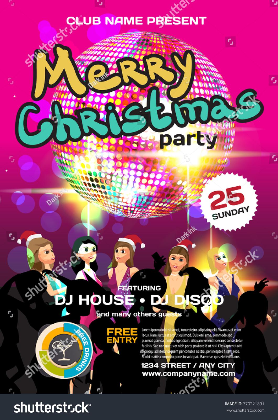 Vector Christmas Party Invitation Disco Style Stock Vector ...