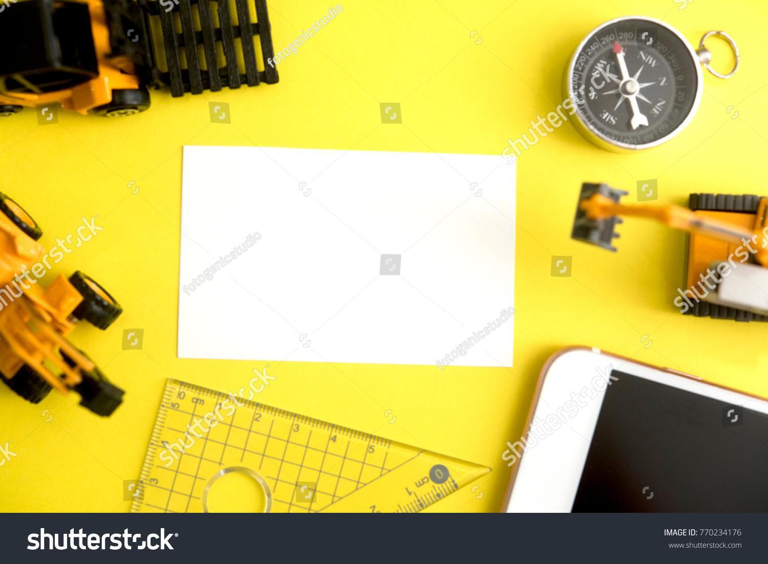 Blank White Business Card Miniature Construction Stock Photo ...