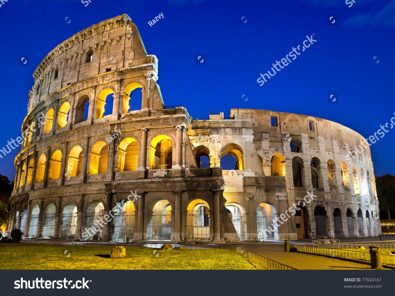 Ancient Roman Colosseum Dusk Rome Italy Stock Photo 77024167