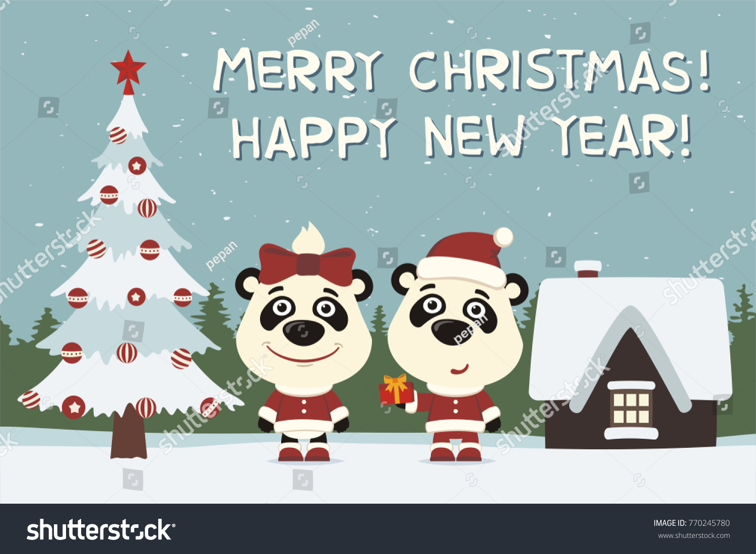 Merry Christmas And Happy New Year Greeting Card Two Raccoons Boy