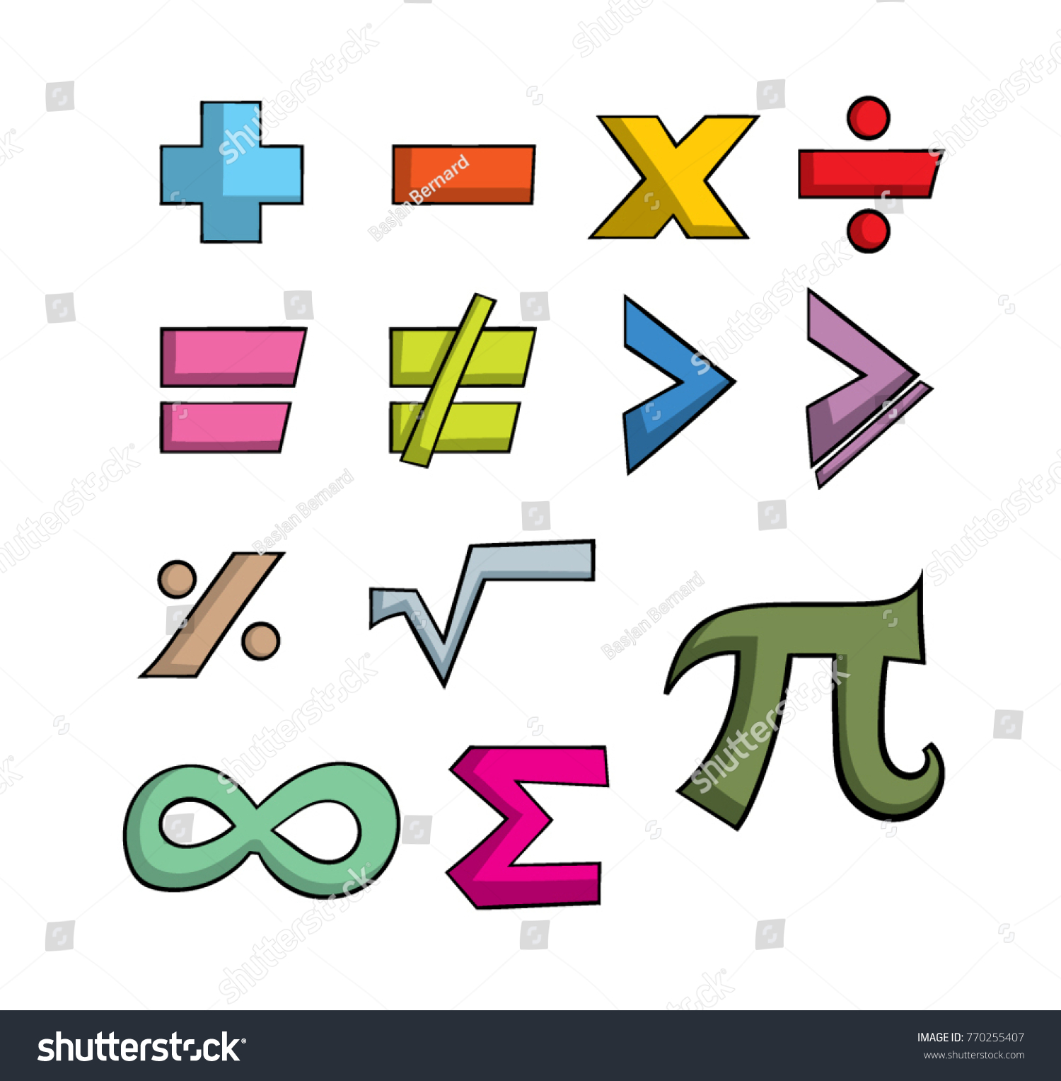 Colorful cartoon style mathematical symbols stock vector 770255407 colorful cartoon style mathematical symbols biocorpaavc Image collections