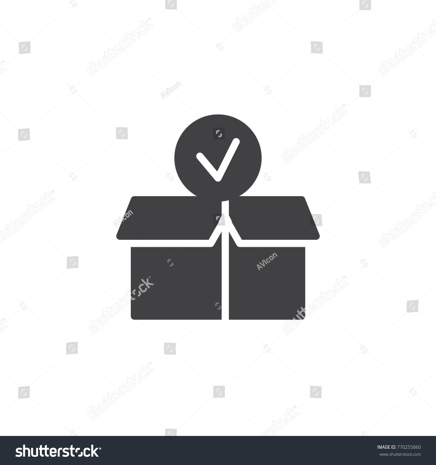 Package paper box check mark icon stock vector 770255860 package paper box with check mark icon vector filled flat sign solid pictogram isolated biocorpaavc
