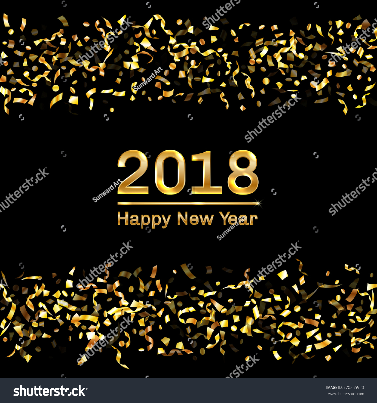 modern 2018 happy new year card with gold flying confetti and streamers foil texture gold