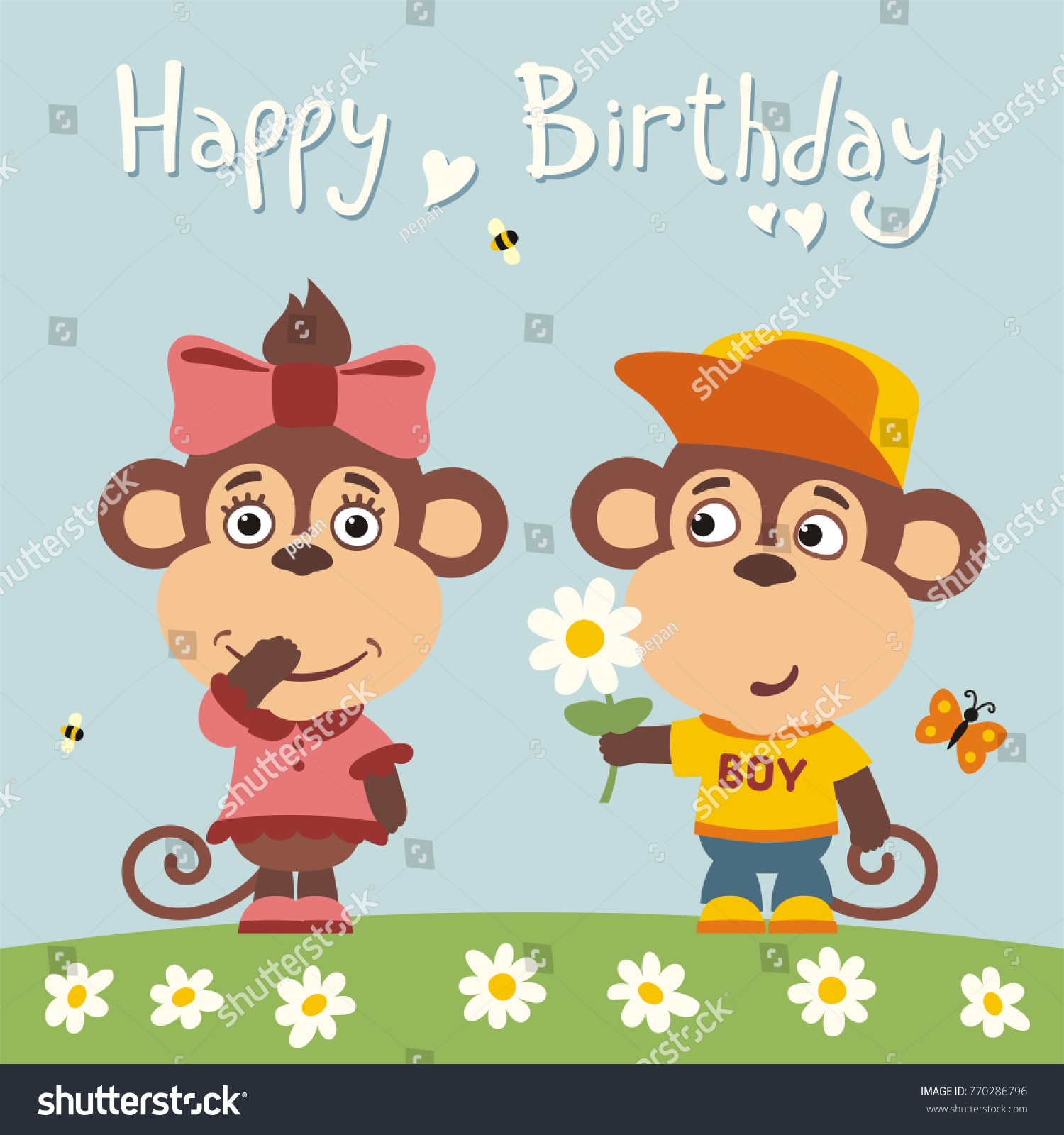 Happy birthday greeting card funny monkey stock vector 770286796 happy birthday greeting card funny monkey boy gives flower to monkey girl for birthday bookmarktalkfo Gallery