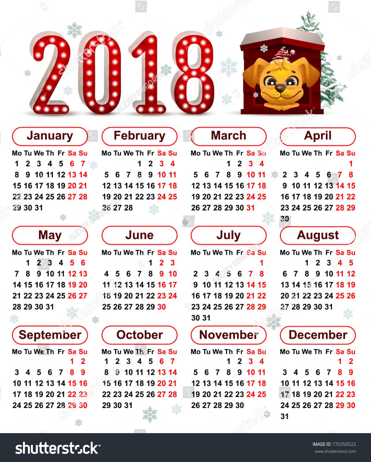 2018 Year Yellow Dog Chinese Calendar Stock Illustration 770350522
