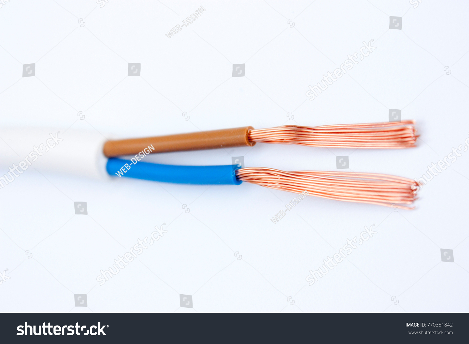 Copper Electrical Wires On White Background Stock Photo Edit Now Wiring Devices A
