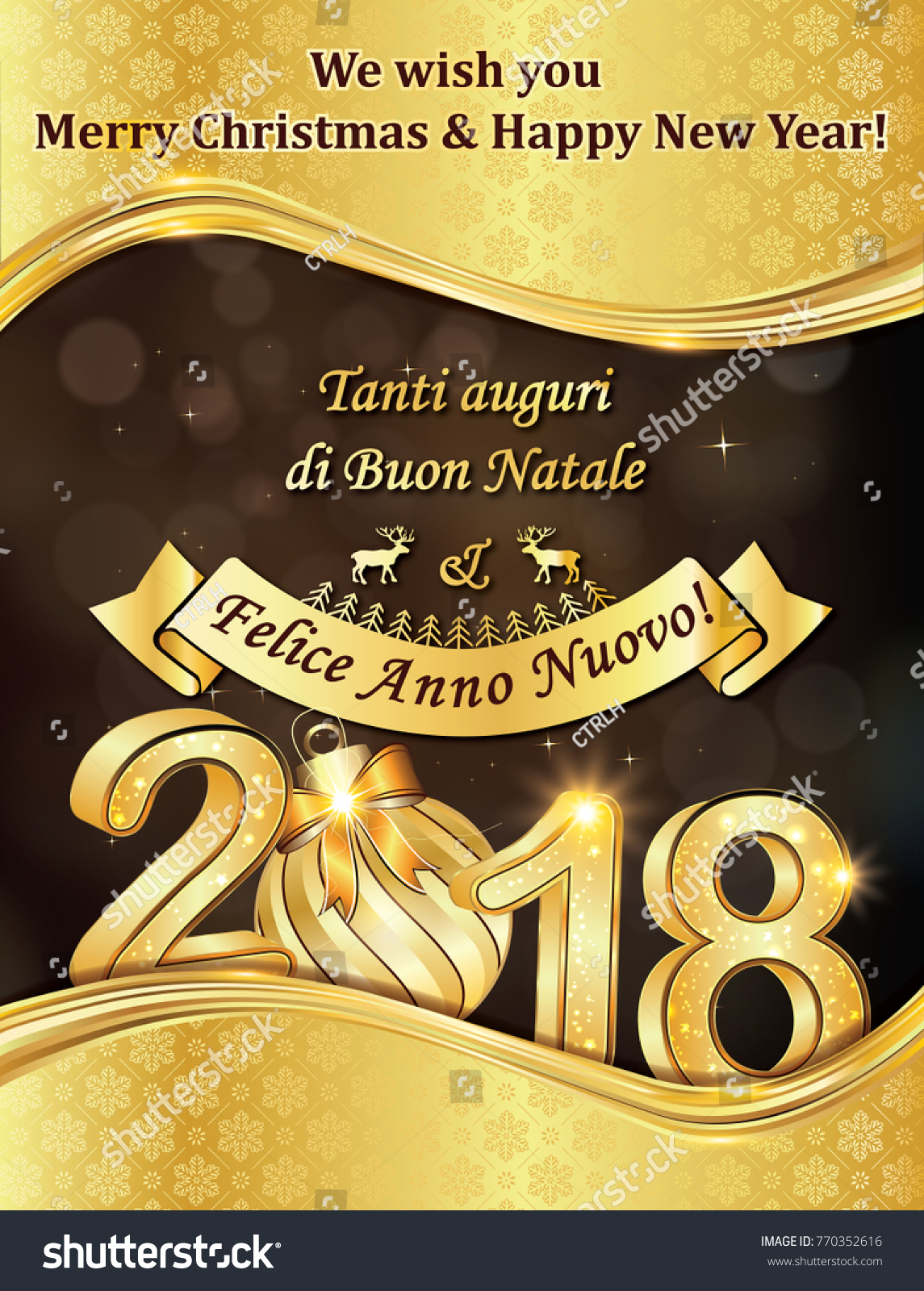 Greeting card 2018 text italian english stock illustration 770352616 greeting card 2018 with text in italian and english designed for the holiday season m4hsunfo