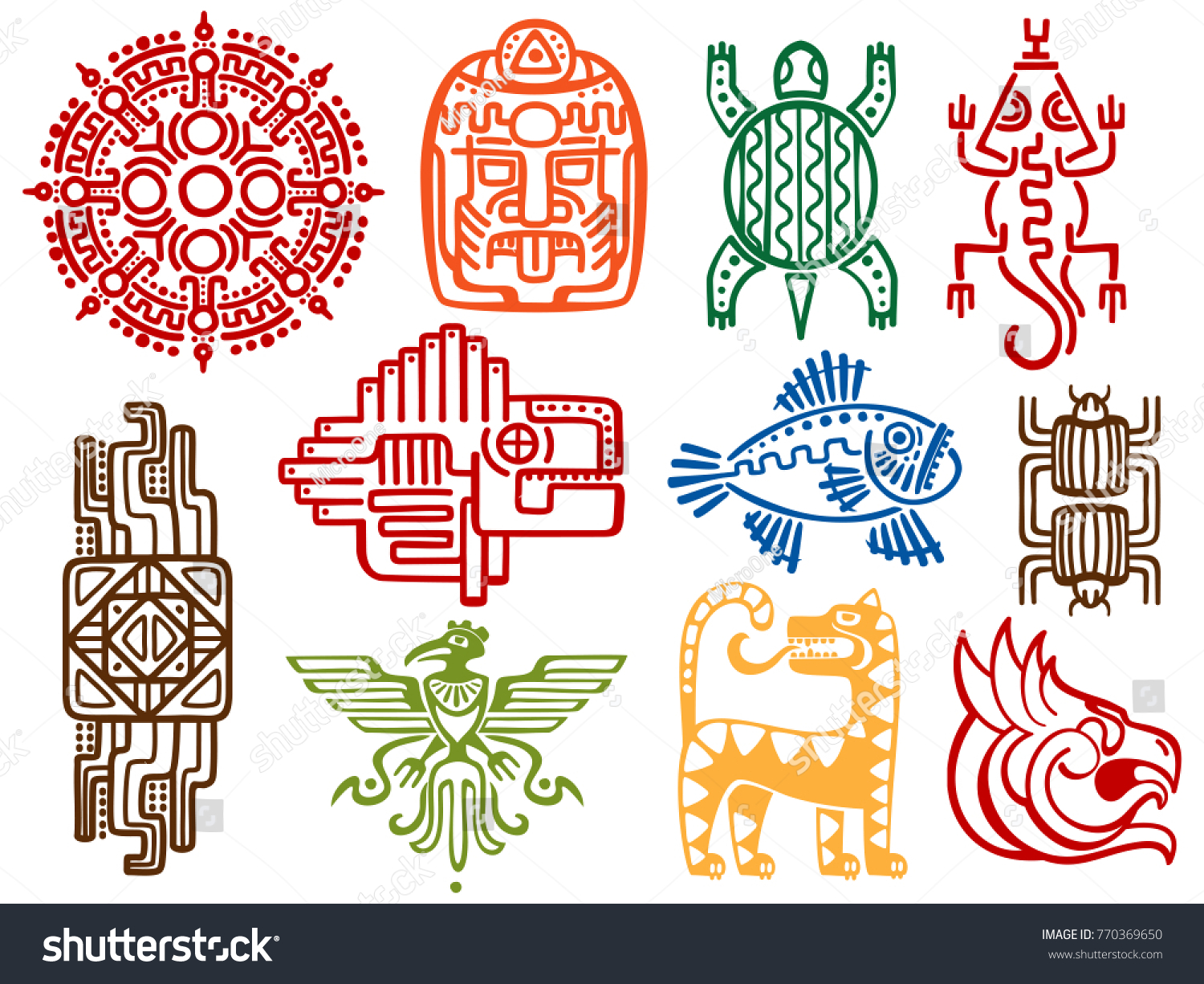 Colorful Ancient Mexican Vector Mythology Symbols Stock Vector