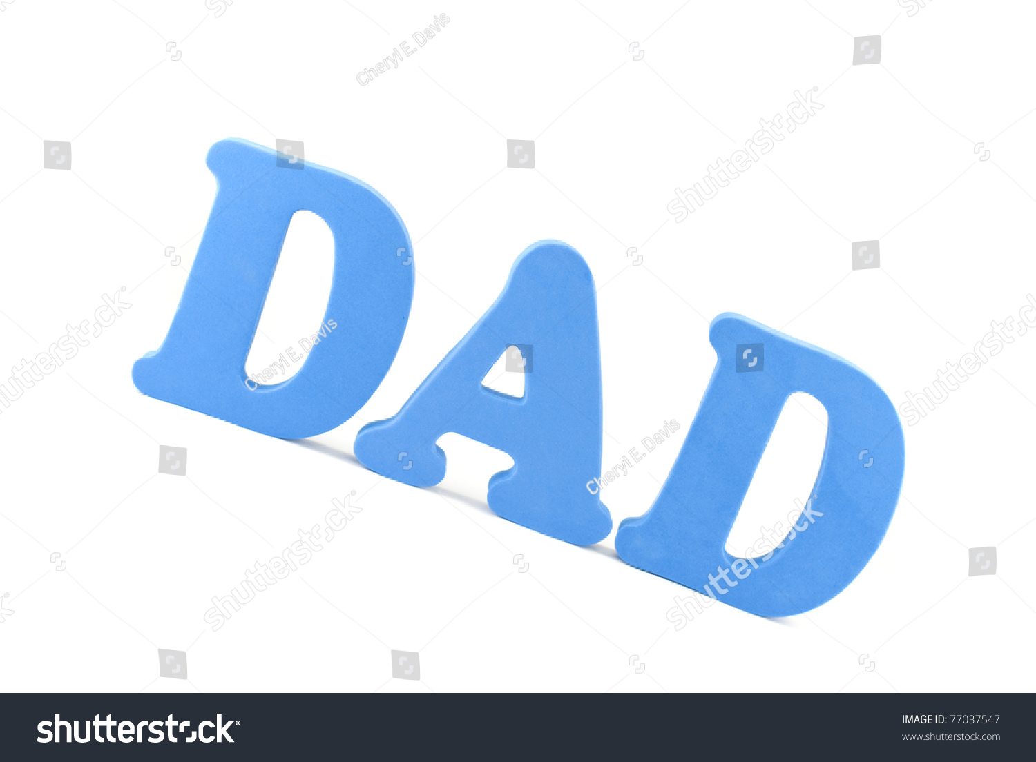 the word dad in 3d blue block letters with shadow isolated on white background