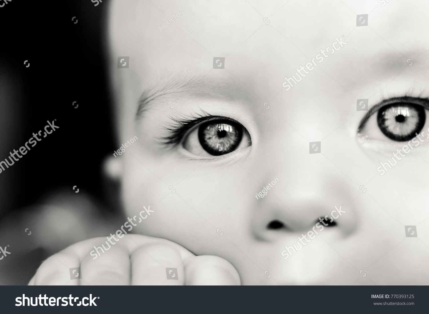 Portrait Sad Concentrated Baby Black White People Stock Image 770393125