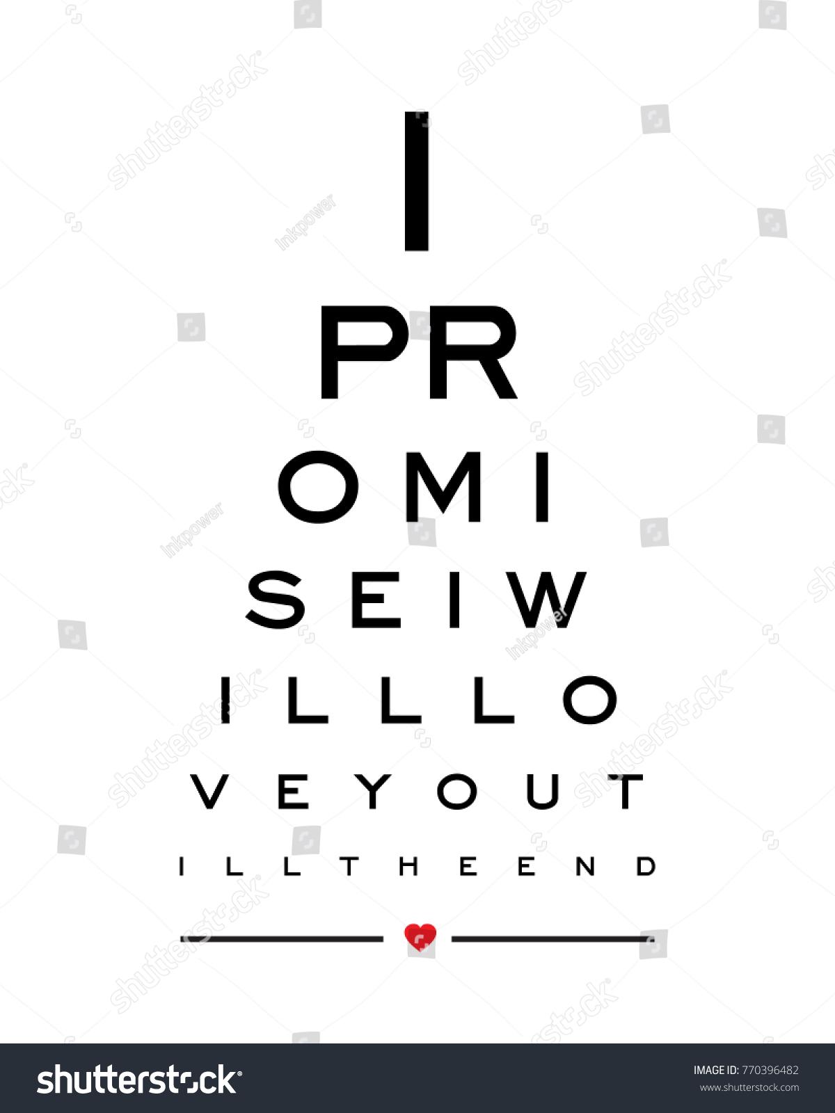 Eye chart snellen wall art print stock vector 770396482 shutterstock eye chart snellen wall art print design vector for i promise i will love you till nvjuhfo Choice Image