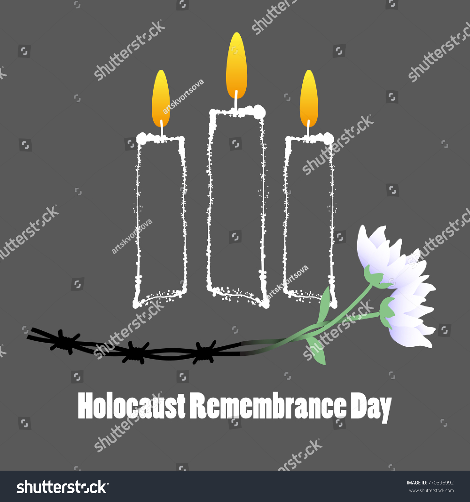 Holocaust Remembrance Day Barbed Wire Candles Stock Vector (2018 ...