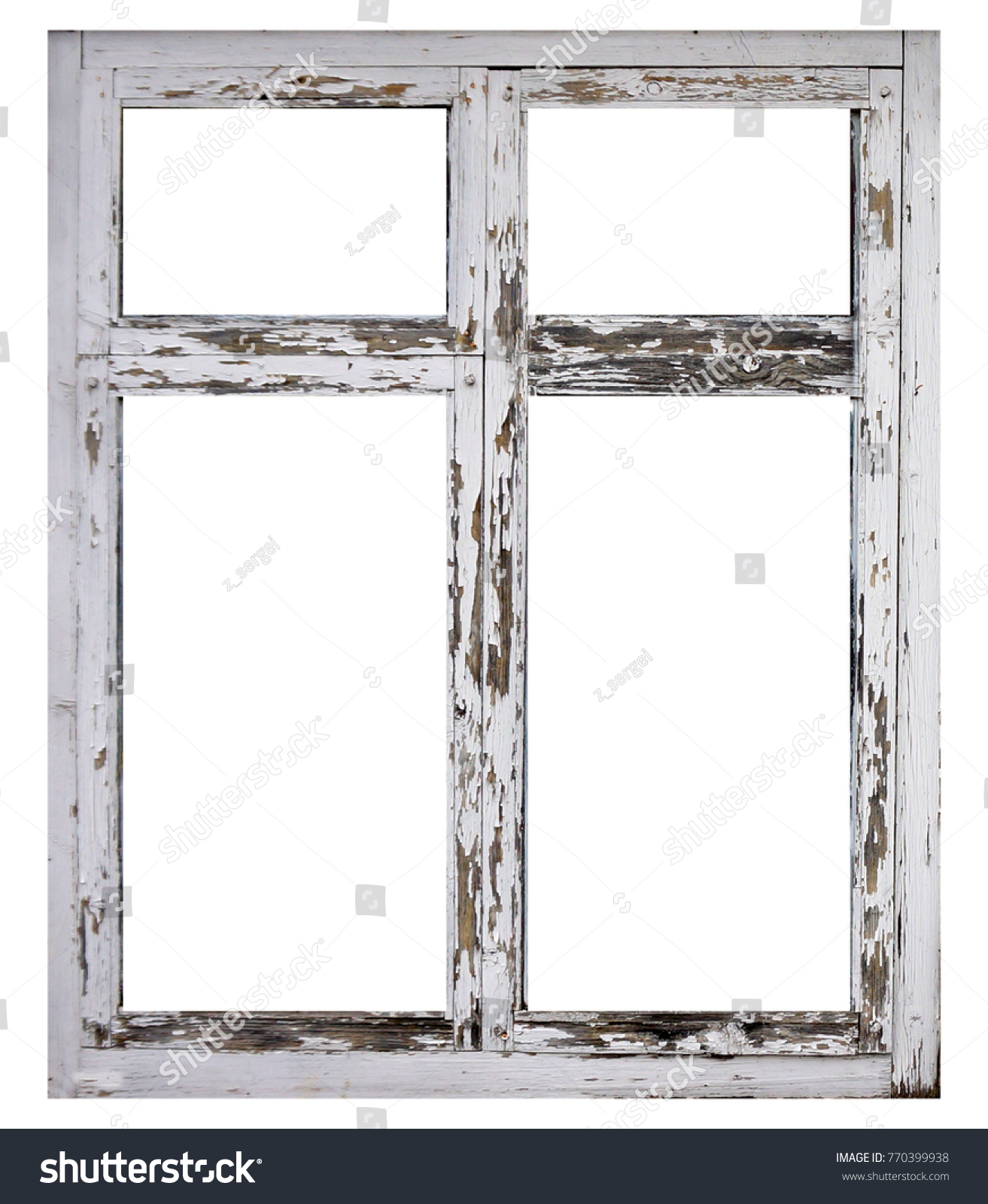 Old White Wood Window Frame Isolated Stock Photo (Edit Now ...