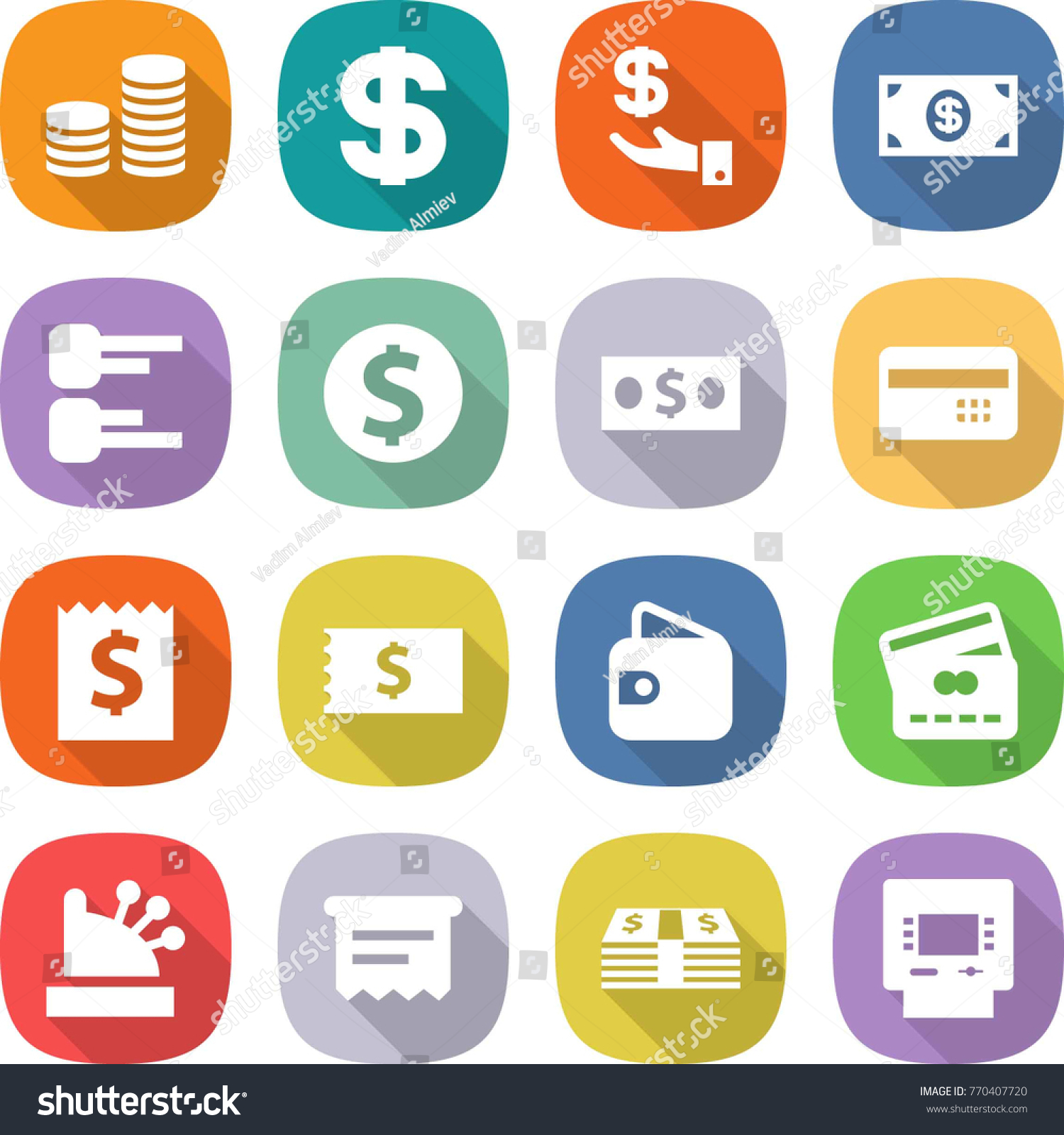 Flat Vector Icon Set Coin Stack Dollar Investment Money Credit Card Diagram Id 770407720