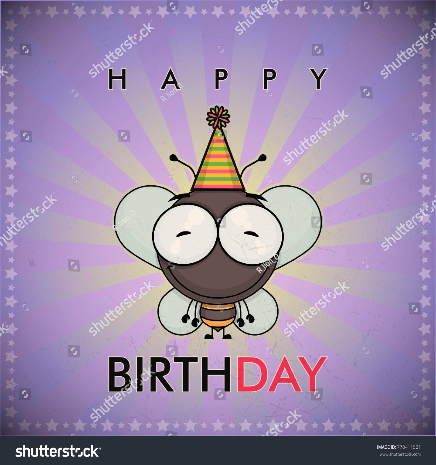Funny happy birthday greeting card cute stock vector 770411521 funny happy birthday greeting card with cute cartoon bee kristyandbryce Images