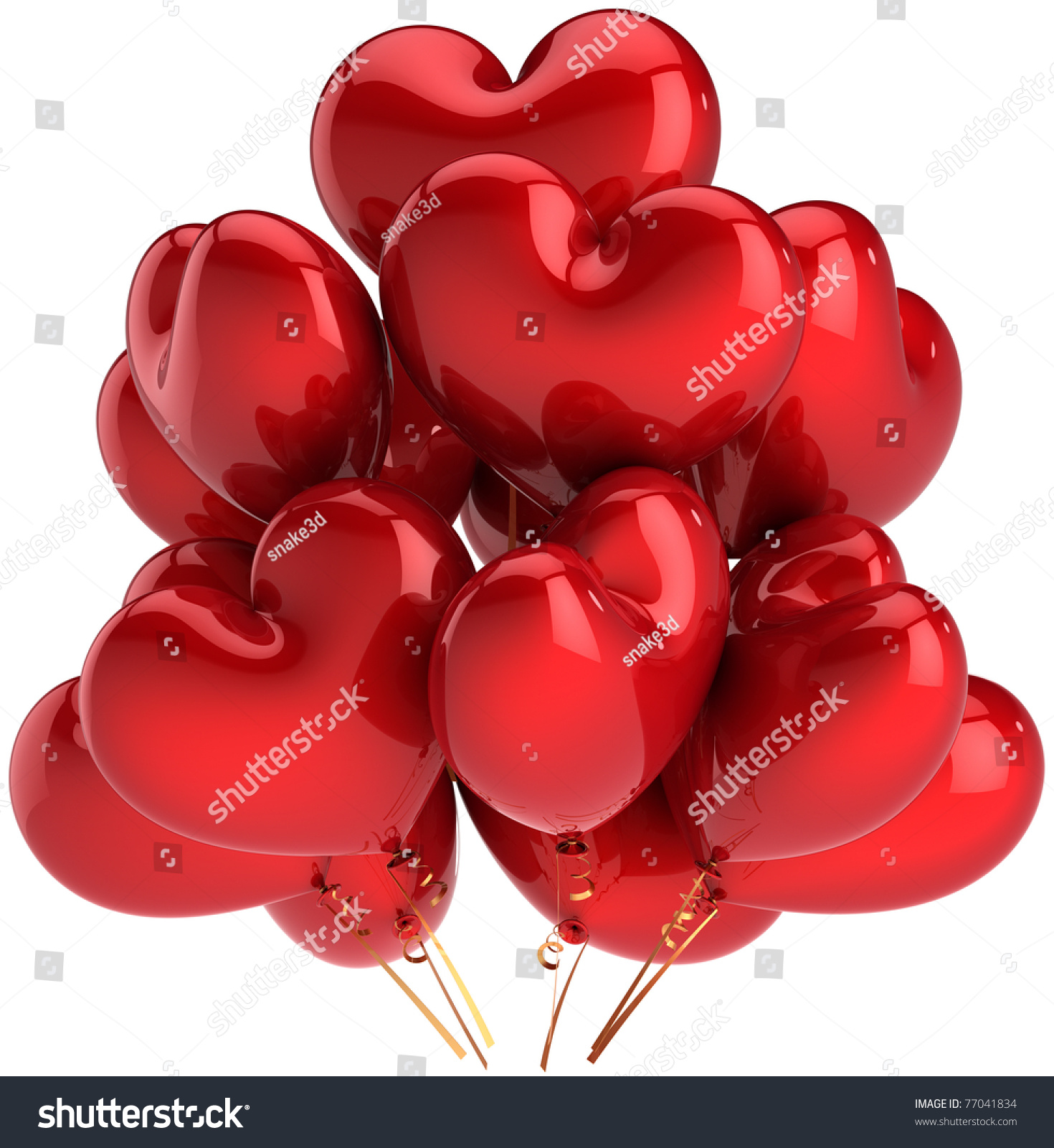 Party balloons love red hearts birthday stock illustration