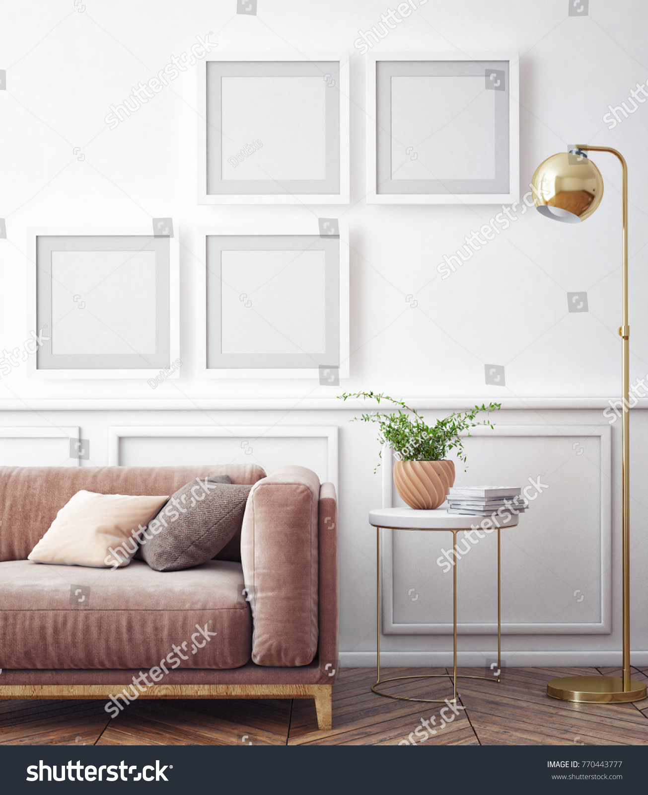 Living Room Interior Wall Mock Velvet Stock Illustration 770443777 ...