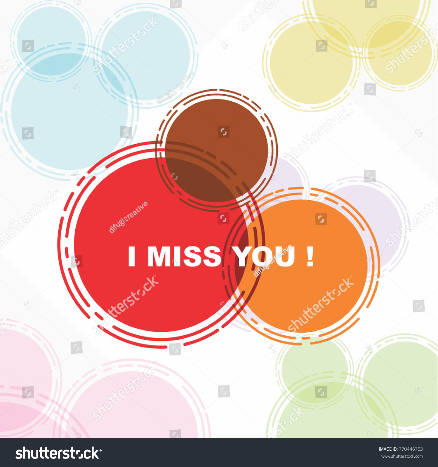 Miss You Beautiful Greeting Card Poster Stock Vector 770446753