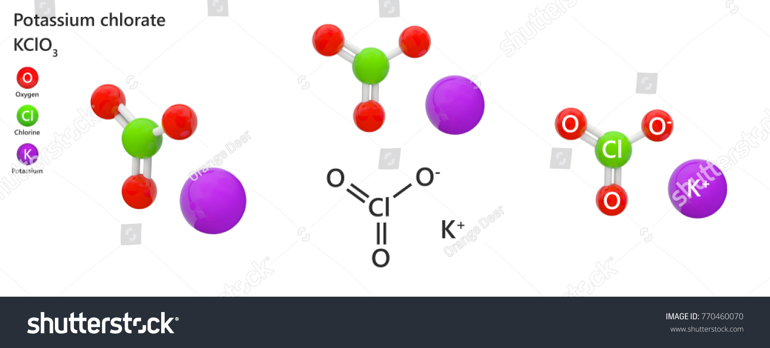Potassium Chlorate Formula K Cl O 3 Cl Ko 3 Used Stock Illustration