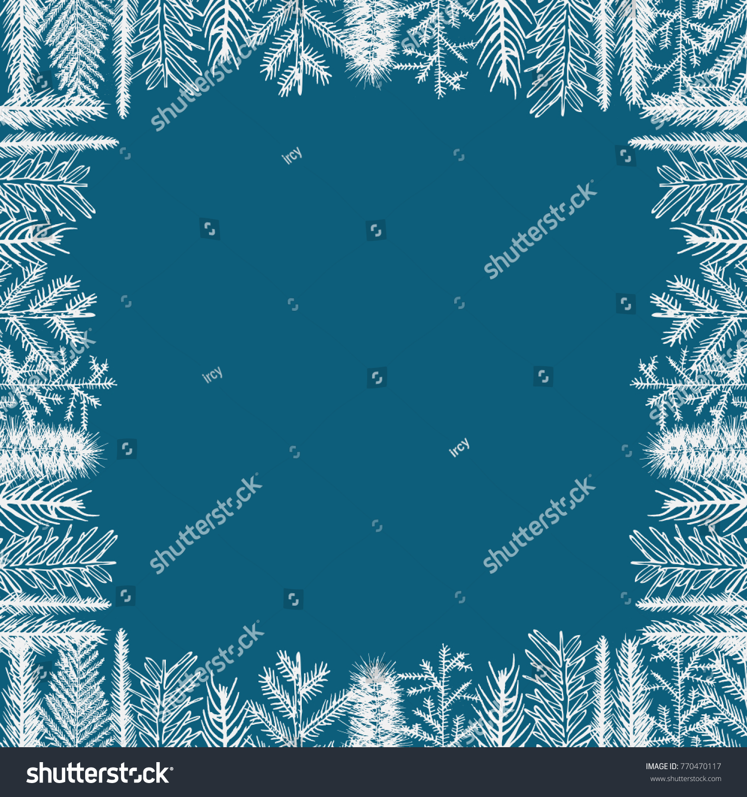 Christmas vector framework holiday greeting card stock vector christmas vector framework holiday greeting card background template of fir pine tree branch frame kristyandbryce Choice Image