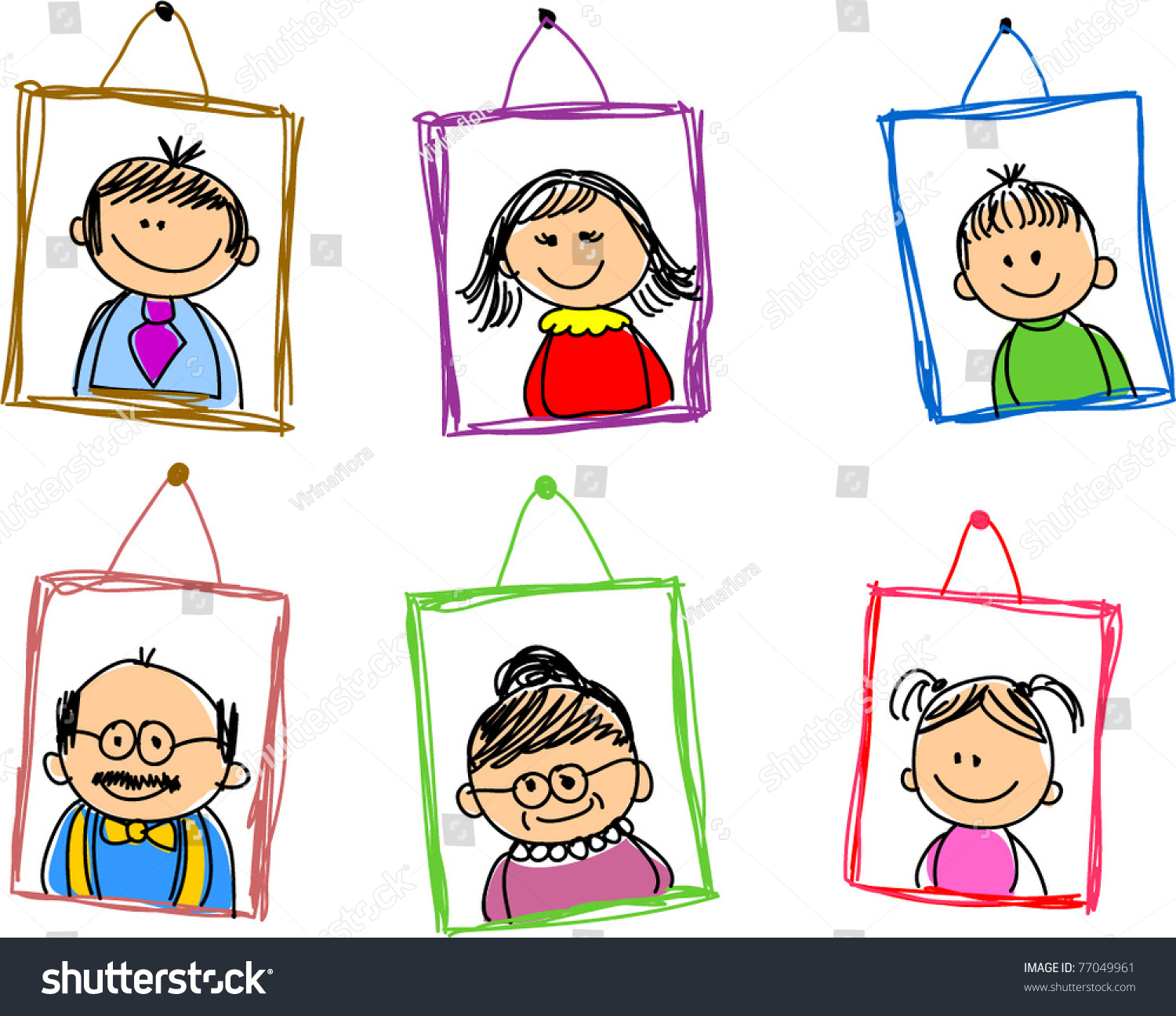 Doodle Sketches Family Members Framework Stock Vector 77049961 ...
