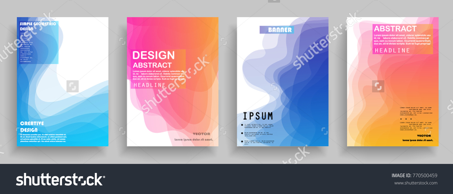 Covers Templates Set With Graphic Geometric Elements Applicable For