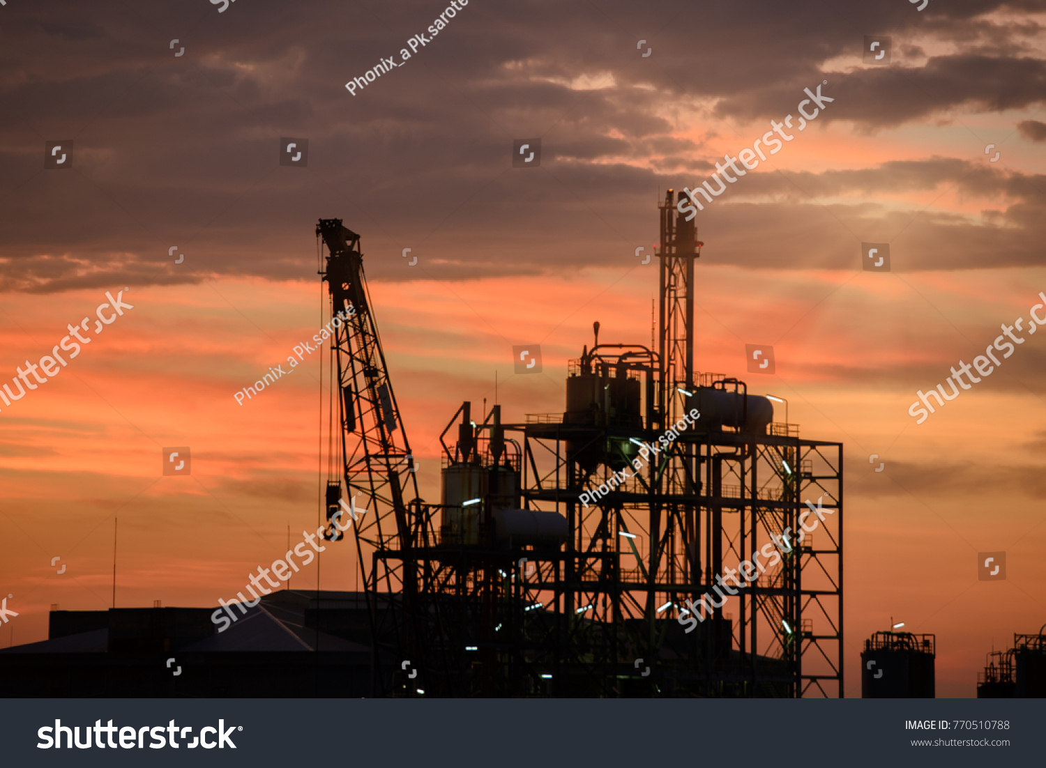 Silhouette Tower Cranes Structural Steel Beam Stock Photo