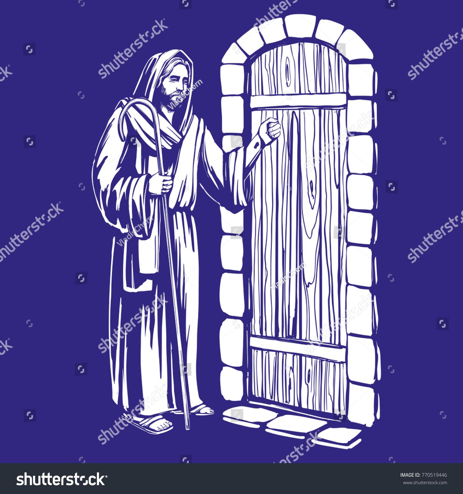 Jesus christ son god knocking door stock vector royalty free jesus christ son of god knocking at the door symbol of christianity hand drawn altavistaventures Gallery