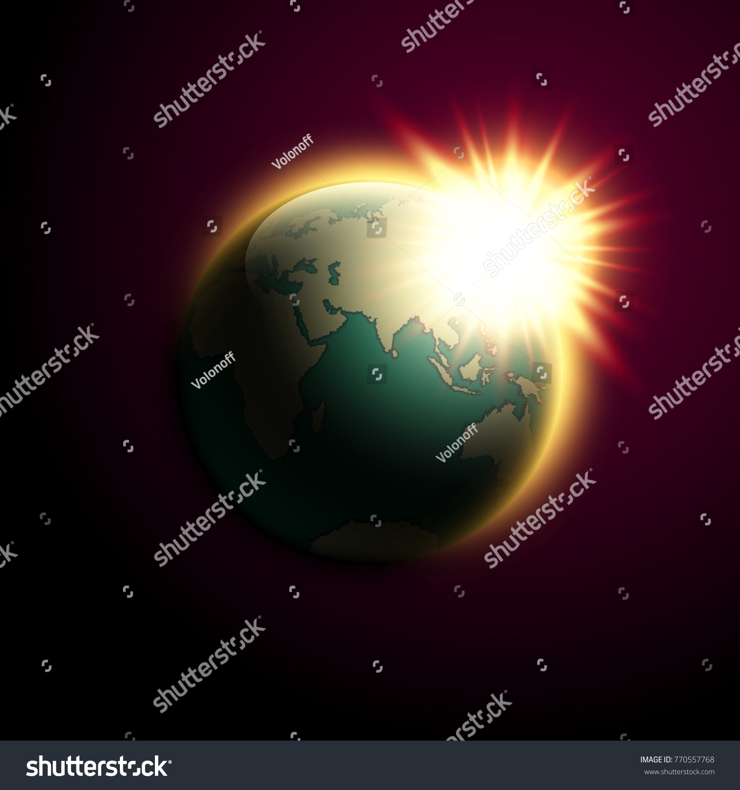 World map rising sun banner globe vectores en stock 770557768 world map rising sun banner globe icon in space sunlight poster planet earth on gumiabroncs