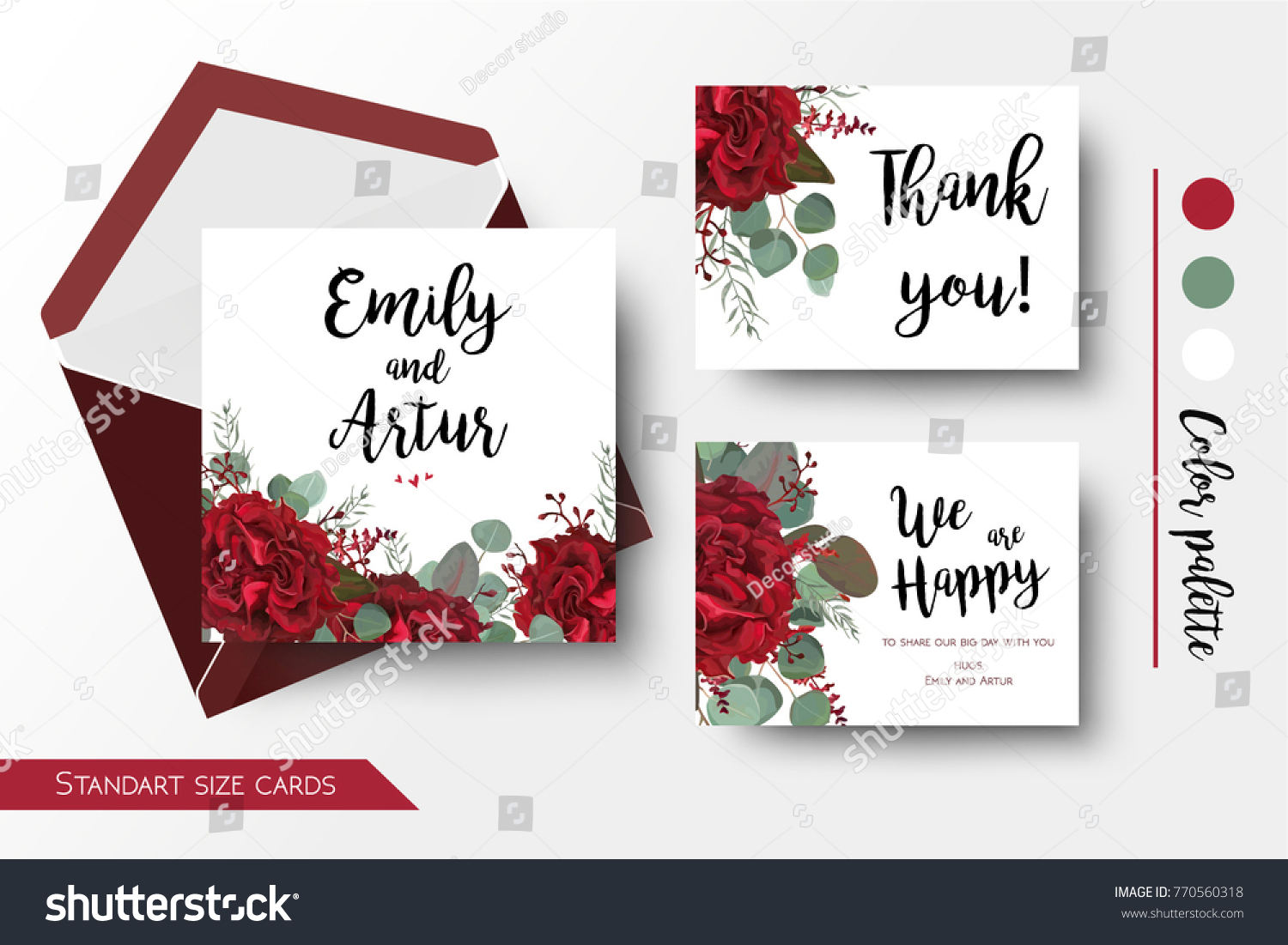 Wedding Invite Invitation Thank You Greeting Stock Vector 770560318 ...