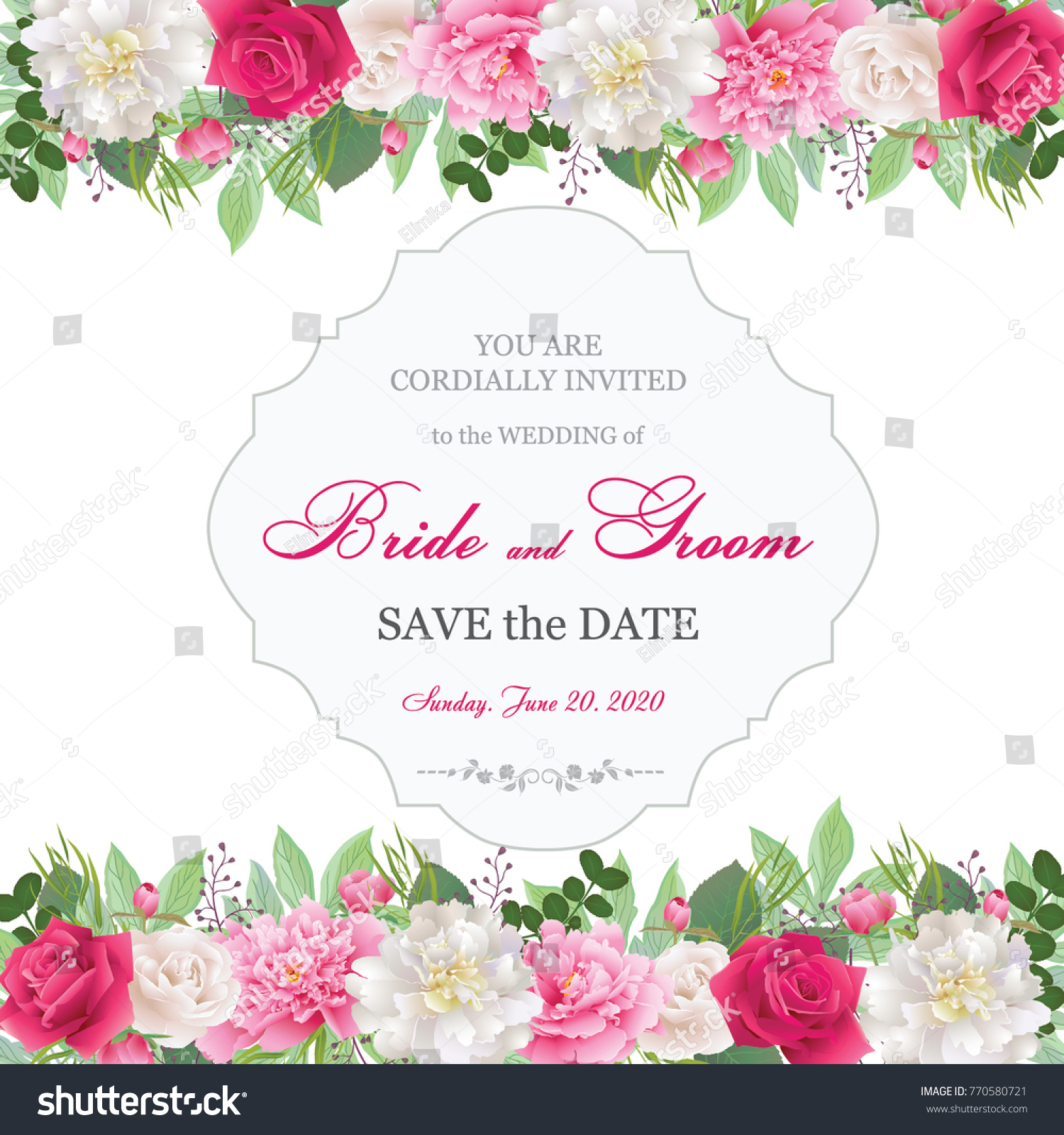 Wedding invitation cards roses peoniesbeautiful white stock vector wedding invitation cards with roses and peoniesautiful white and red roses pink and monicamarmolfo Gallery