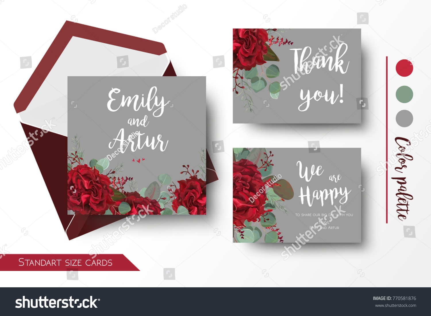 Wedding Invite Invitation Thank You Greeting Stock Vector (Royalty ...