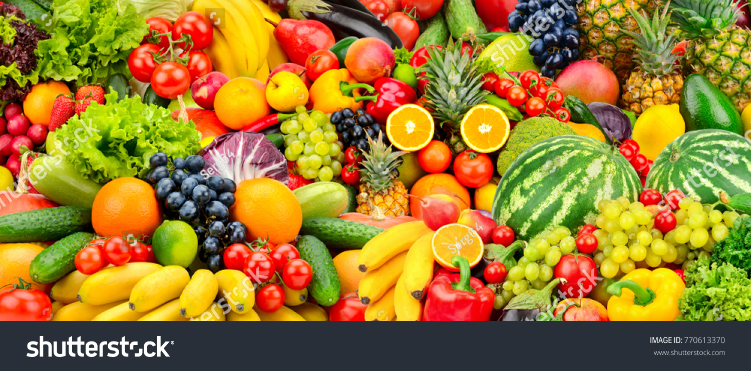 Assorted fresh ripe fruits and vegetables. Food concept background. Top view. Copy space. #770613370 - 123PhotoFree.com