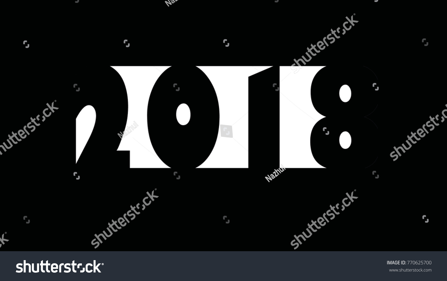 Greeting Card New Year 2018 Black Stock Vector 770625700 Shutterstock