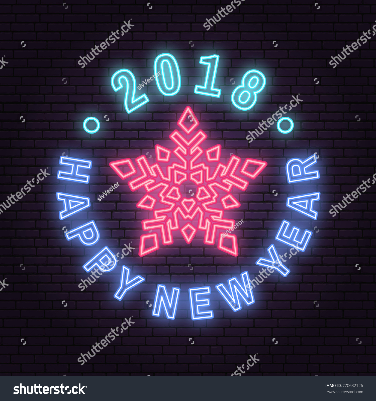 happy new year 2018 neon emblem with snowflake vector illustration neon sign for banner