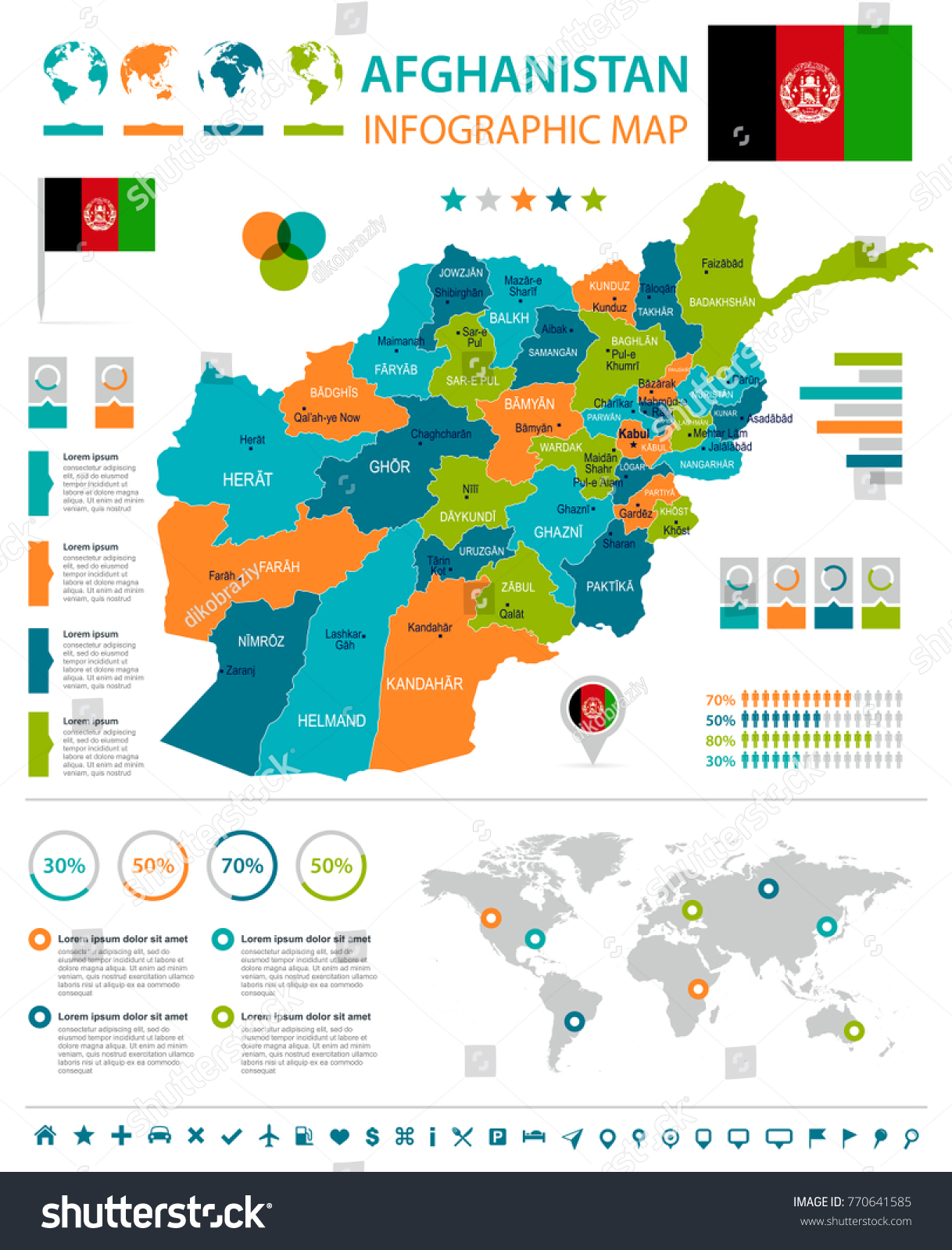 Afghanistan Infographic Map Flag High Detailed Stock Vector - Charikar map
