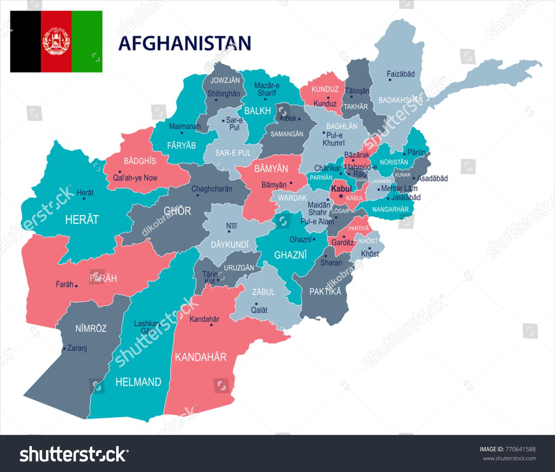 Afghanistan Map Flag High Detailed Vector Stock Vector - Charikar map