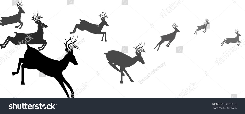 running deer reindeer christmas animals silhouette