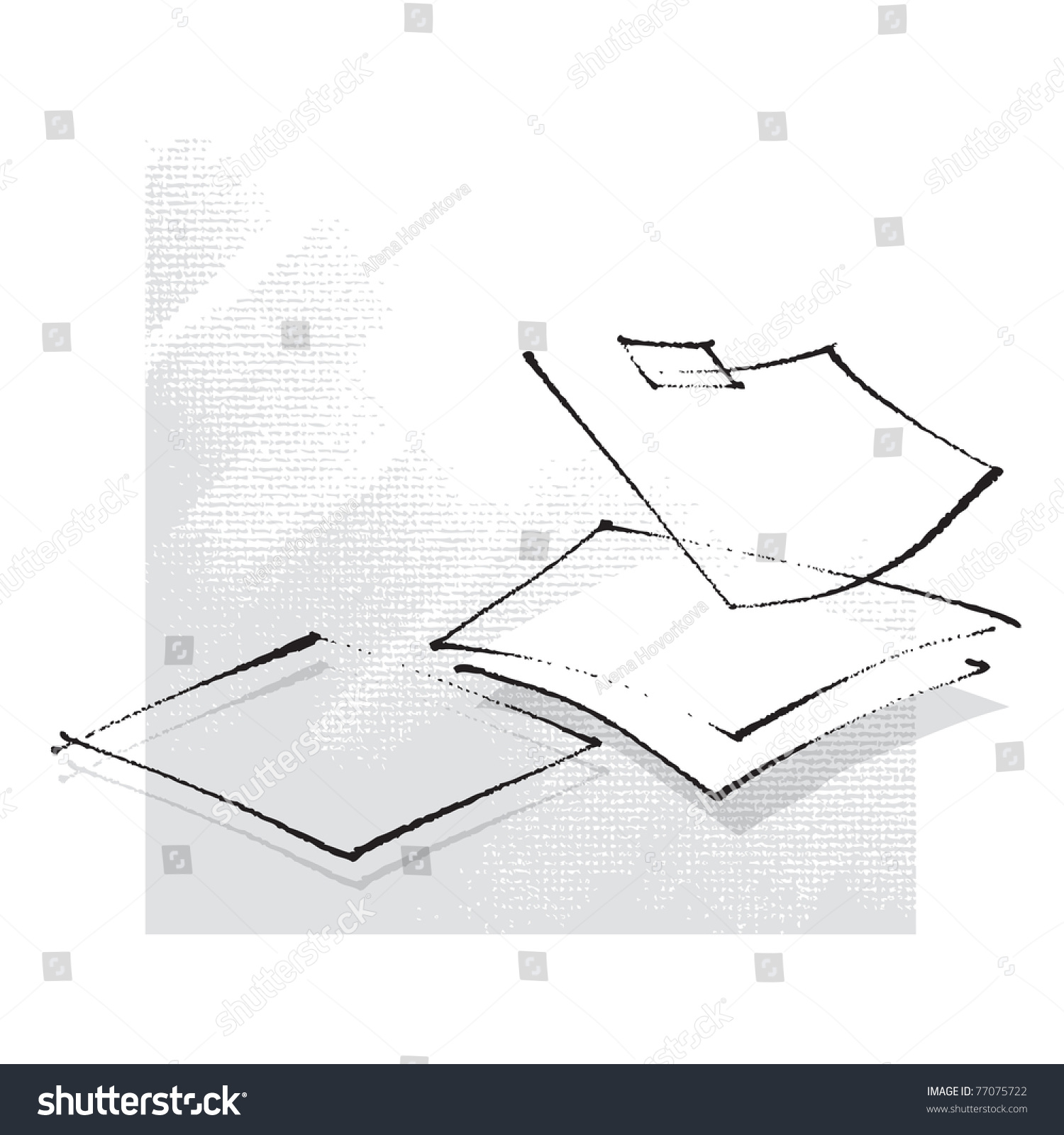 Drawing Lines Freehand : Empty sheets of paper simple stylized line freehand