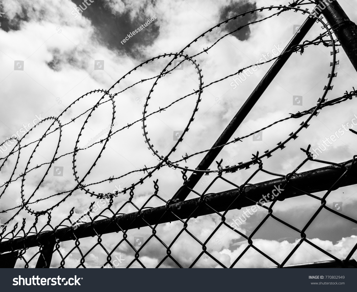 Barbed Wire Fence Black White Stock Photo (100% Legal Protection ...