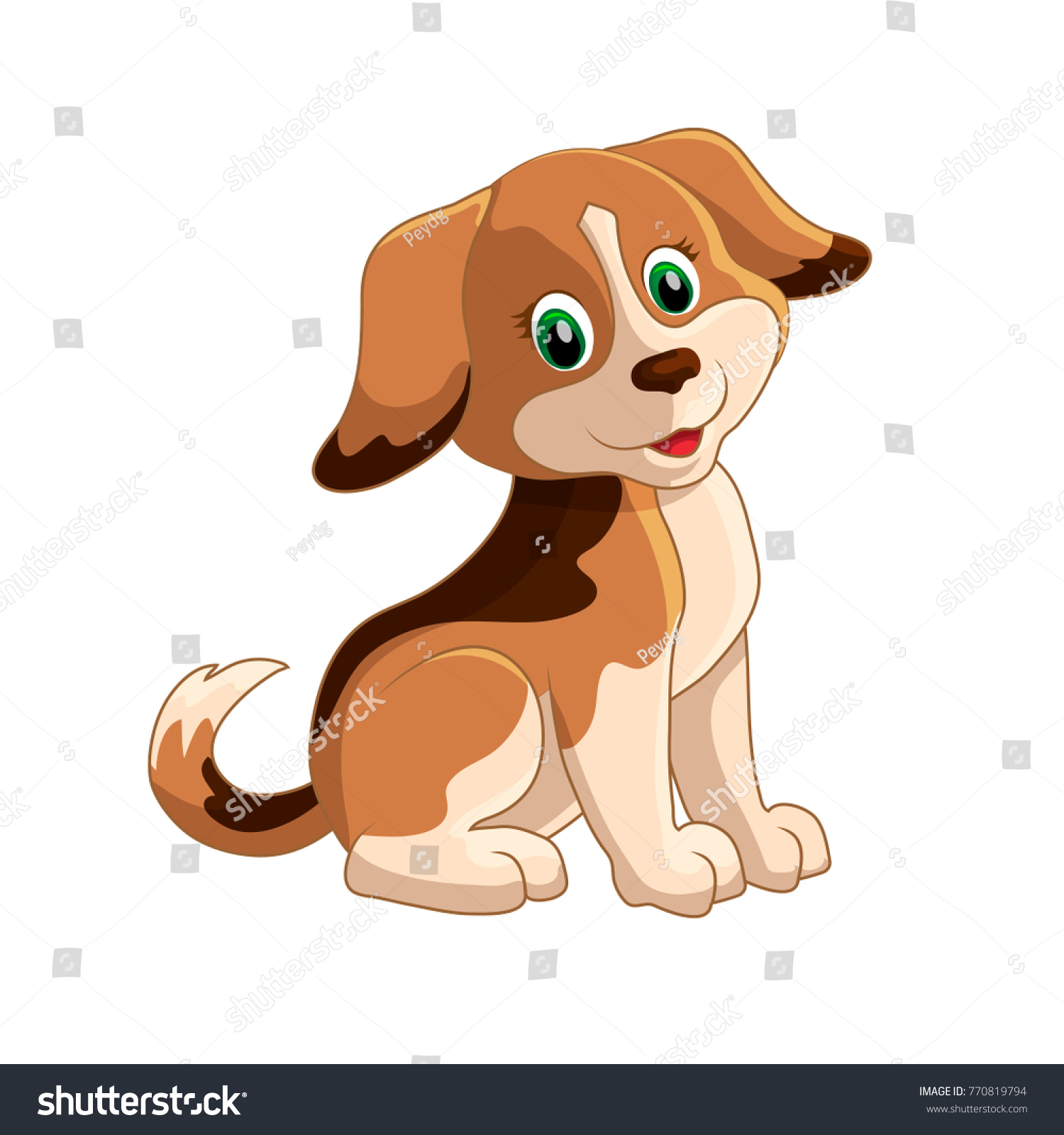 Cute funny cartoon dogs vector puppy pet characters different breads doggy  illustration. the year of