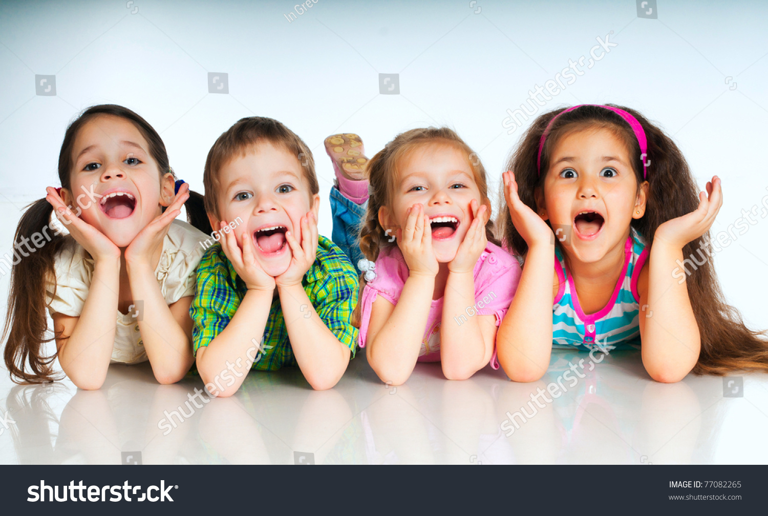 Laughing Small Kids On White Background Stock Photo 77082265 ...