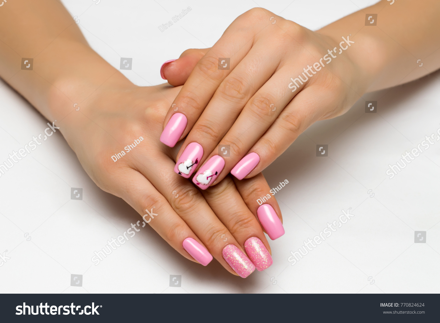 Gently Pink Manicure Sparkles Painted Hearts Stock Photo (Edit Now ...