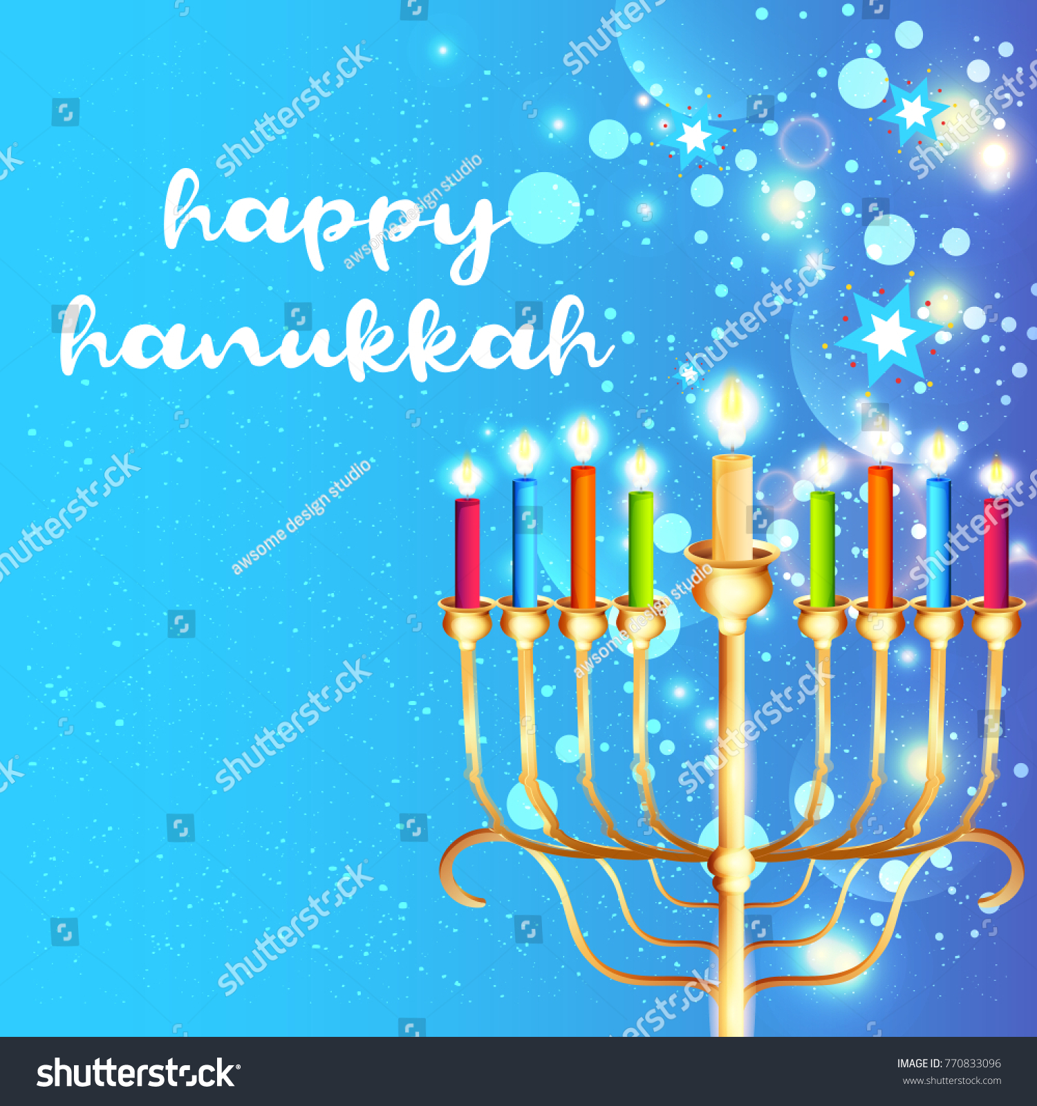 Happy Hanukkah Greeting Card Invitation Card Design Jewish Stock