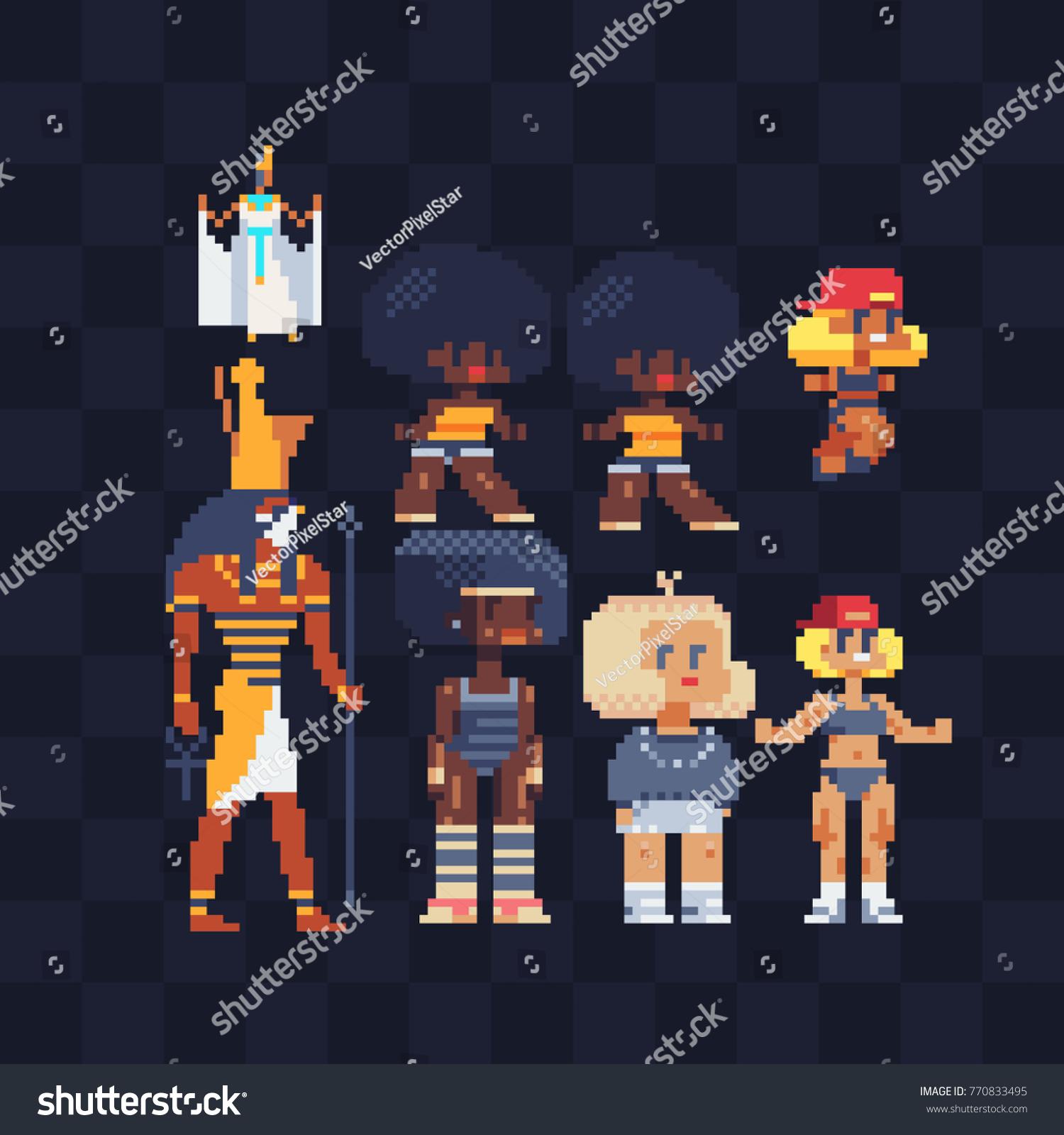 Pixel Art Characters Set Egyptian God Stock Vector (Royalty