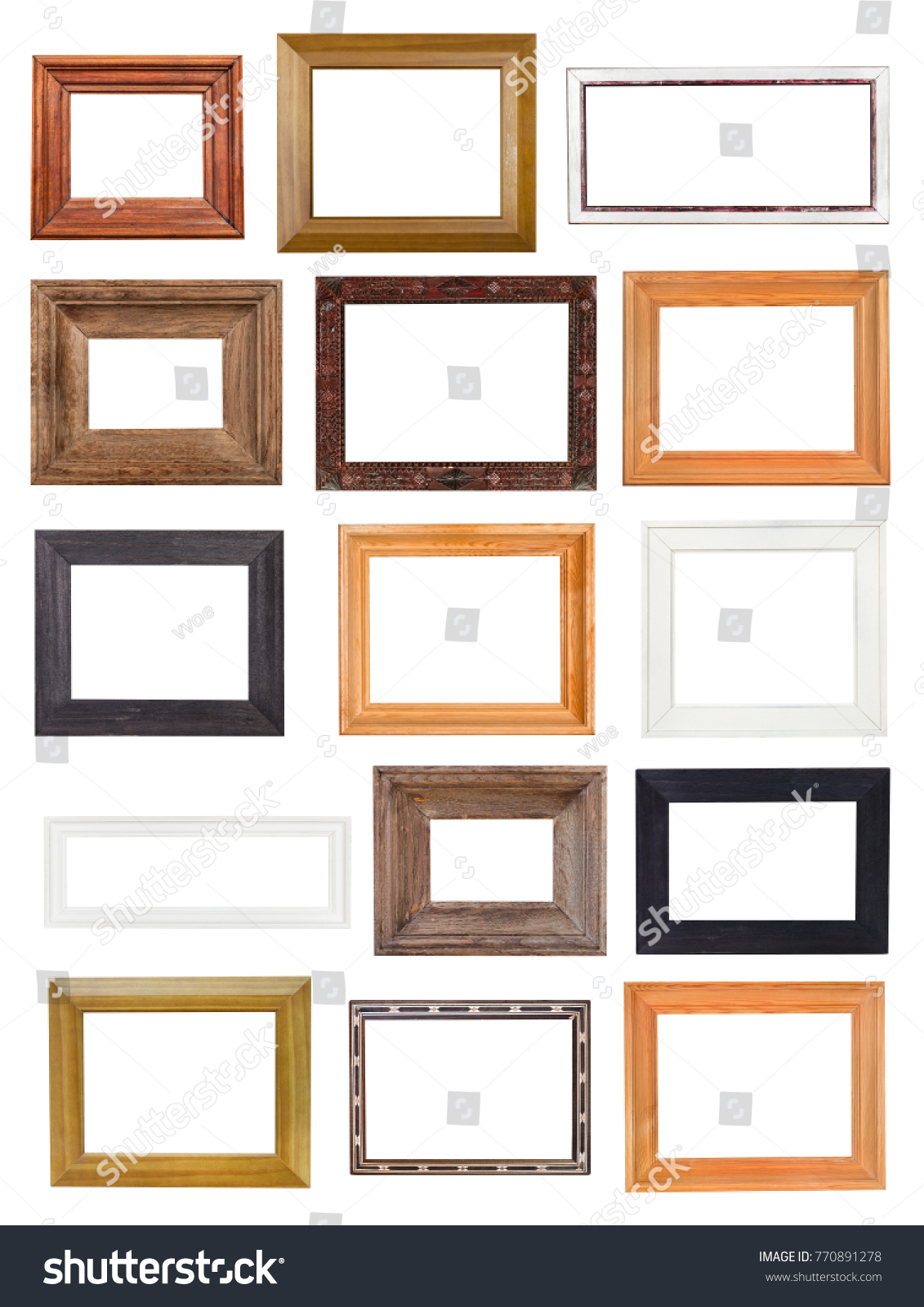 Set Little Wide Wooden Picture Frames Stock Photo (Royalty Free ...