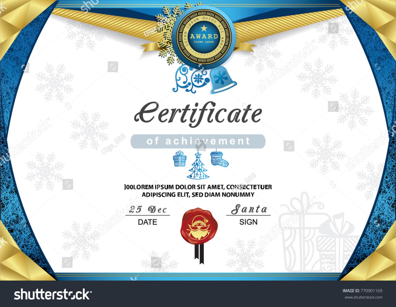 Christmas Certificate Blue Gold Border Snowflake Stock Vector